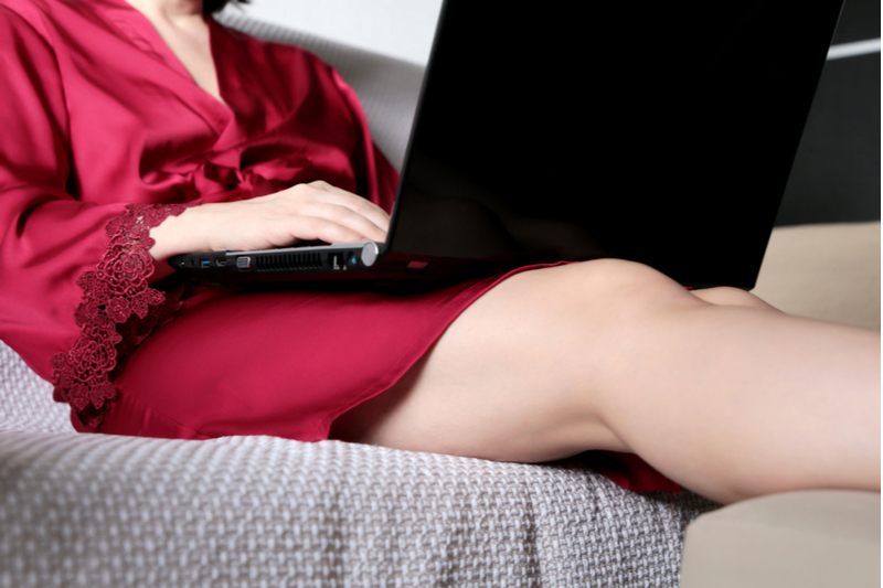 woman watching porn on laptop