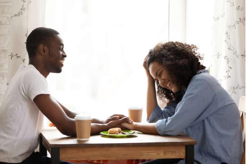 Couple bonding over breakfast